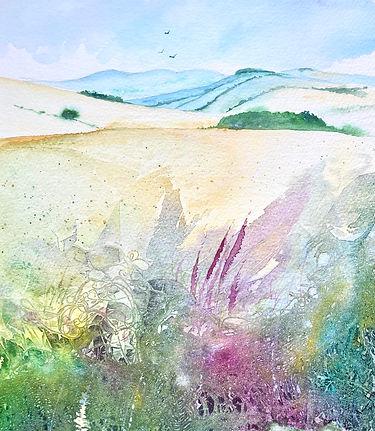 Summer Hillside by Ione Harrison Waterco