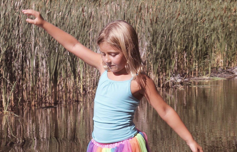 A little girl having fun