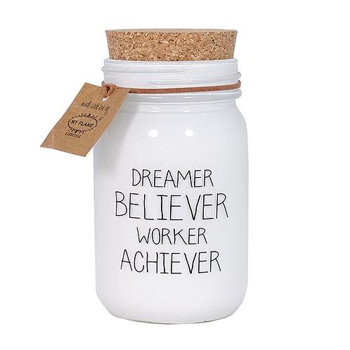 DREAMER BELIEVER WORKER ACHIEVER soja kaars