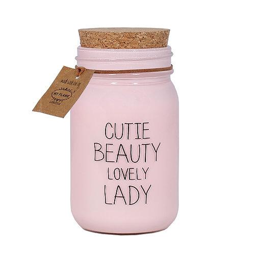 CUTIE BEAUTY LOVELY LADY soja kaars