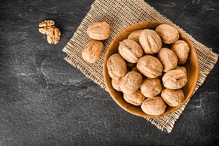 walnuts, kernels, flatlay