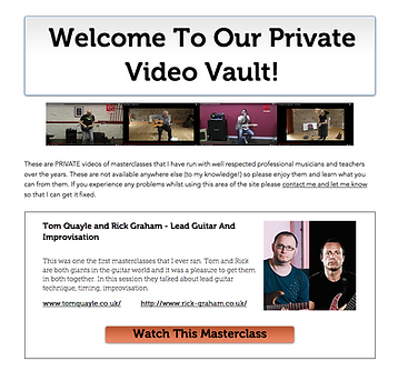 Screen shot of the video vault page