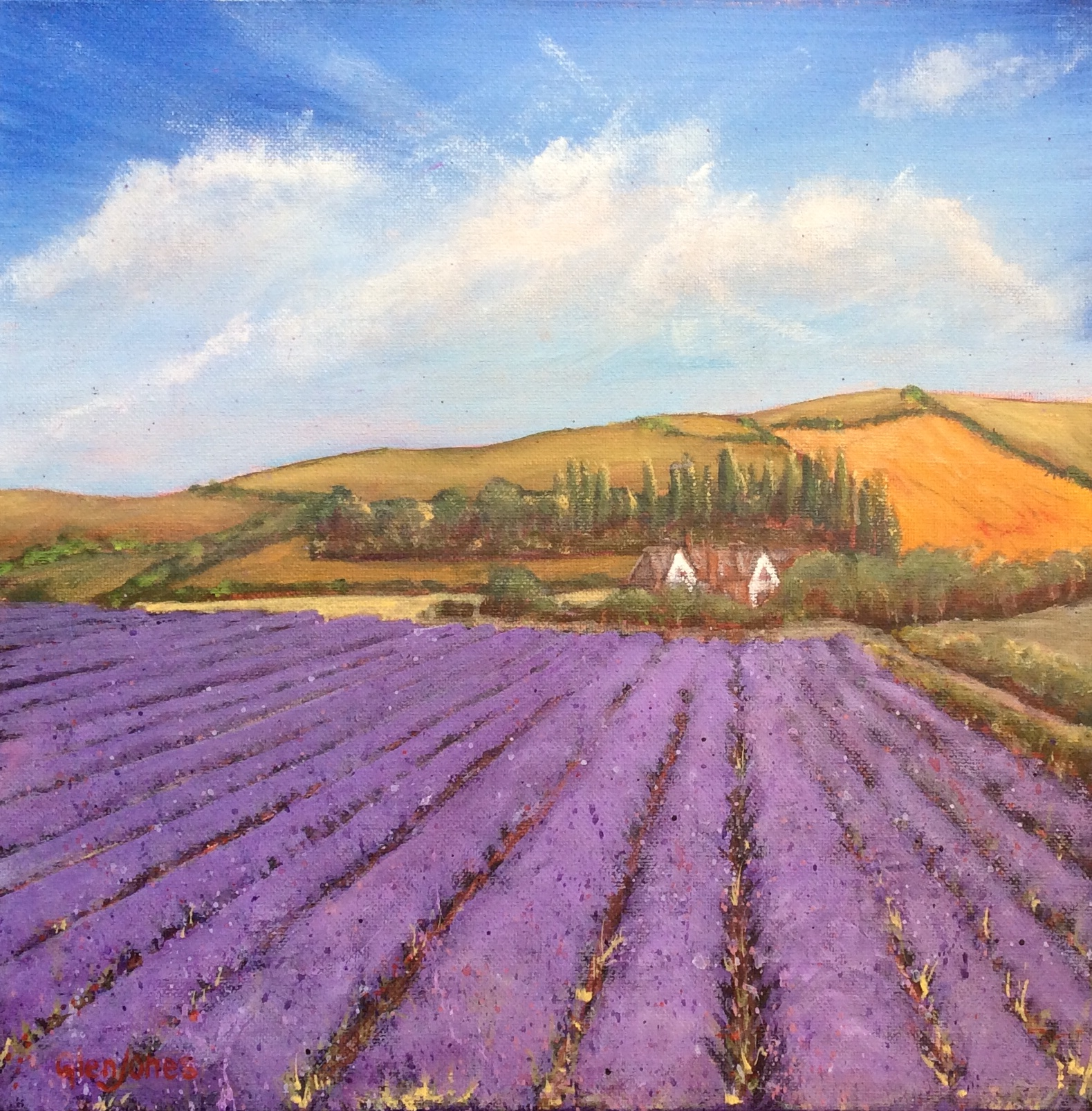 Kentish Lavender Fields, Acrylic