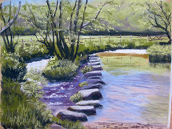 Stepping Stones, North Bovey, pastel
