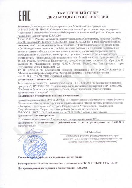 Декларация на карамель 2015