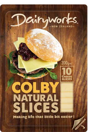 Dairyworks Colby Natural Slices 200g