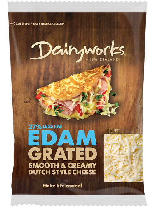 Dairyworks Natural Edam Grated Cheese 500g