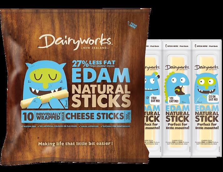 Dairyworks Edam Natural Cheese Sticks 200g