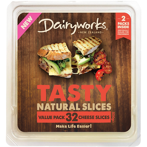 Dairyworks Tasty Value Pack 500g Natural Cheese Slices