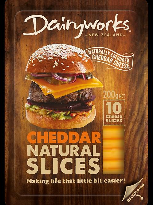 Dairyworks Cheddar Natural Slices 200g