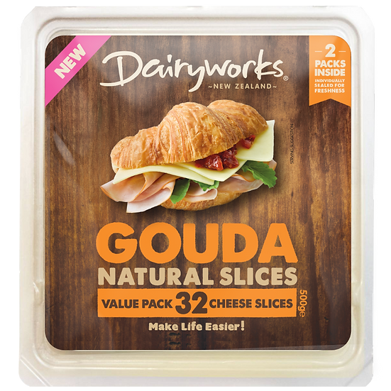 Dairyworks Gouda Natural Slices 500g