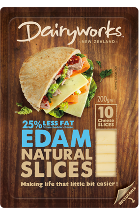 Dairyworks Edam Natural Slices 200g