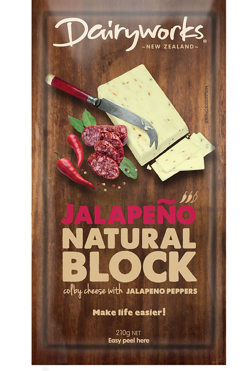Dairyworks Jalapeno Natural Cheese Block 210g