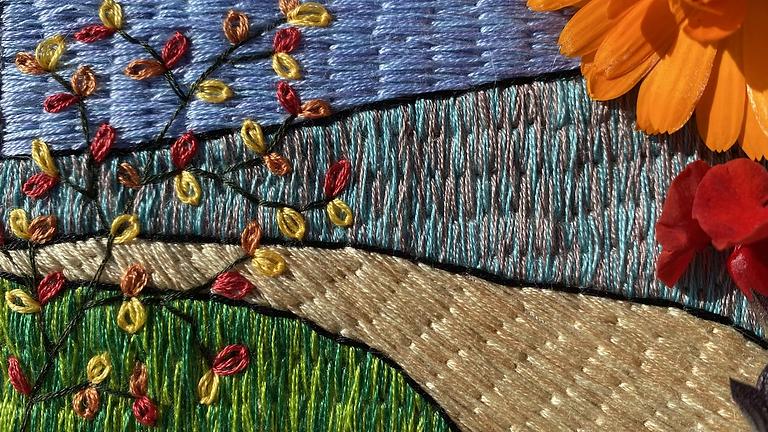 Long & Short Stitch Autumn Stitched Scene