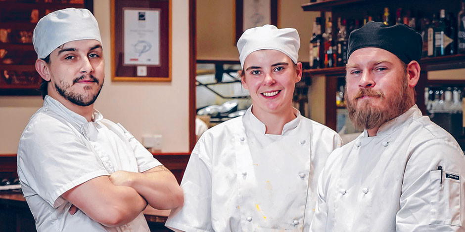 IN DEMAND: Rigoni's apprentice chefs Dean Bardsley, Janelle Freer and Joel Staker. Picture: Mike Burton, Newscorp.