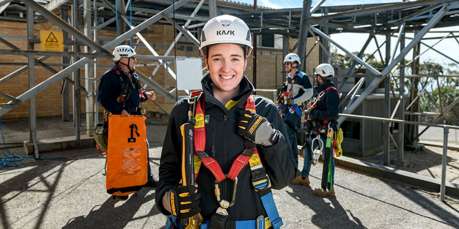 NEW FRONTIERS: Kirsty Potter is kicking goals in the radio design team at Telstra. Picture Mike Burton, Newscorp.