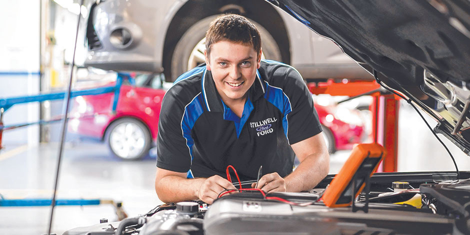 REVVED UP: Third-year motor vehicle apprentice Ben Roether is thrilled to be working at the Superloop Adelaide 500 this year. Picture: Mike Burton, Newscorp.