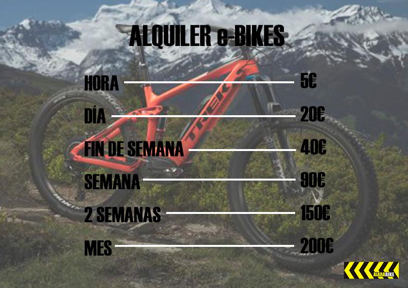 Cartel alquiler e-bikes