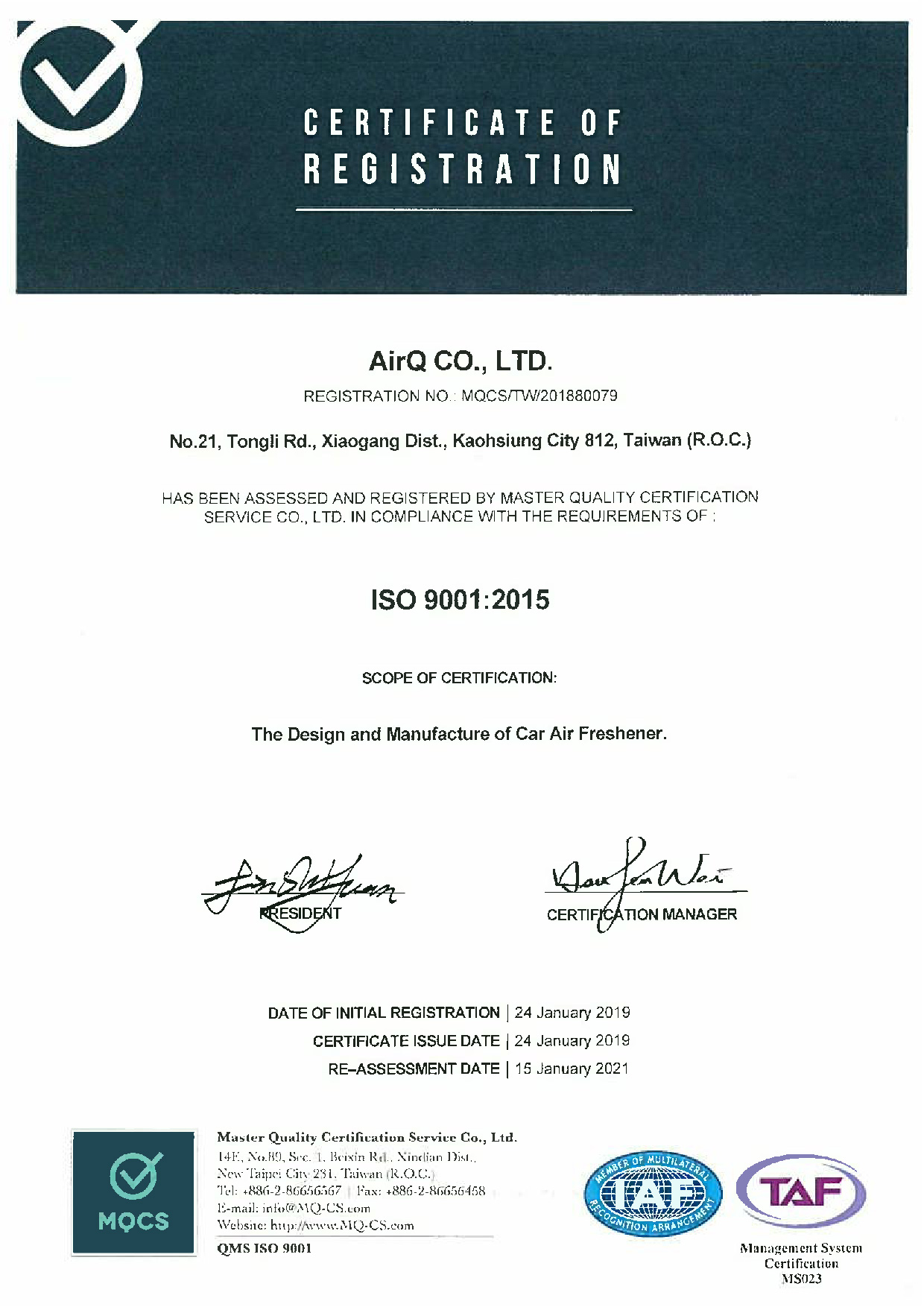 2019 AirQ ISO 9001-2015-01