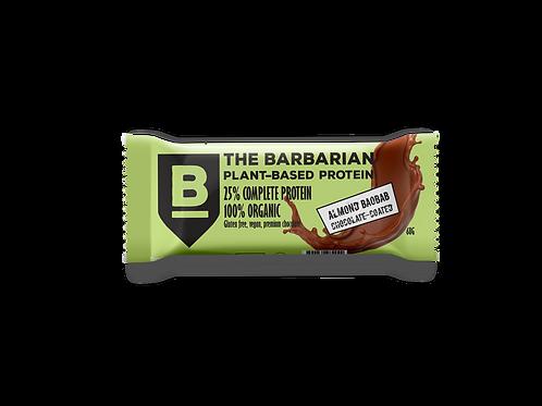 Box of 16 The BarBarian RAW CHOCOLATE-COATED 25% PROTEIN BAR - ALMOND BAOBAB