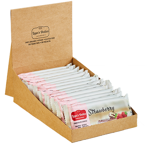 Box of 20 Leya's Oaties - STRAWBERRY Oat Bar with Swiss Chocolate enrobing.