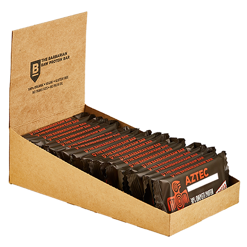 Box of 22 The BarBarian Aztec COCOA - 30% protein raw bar