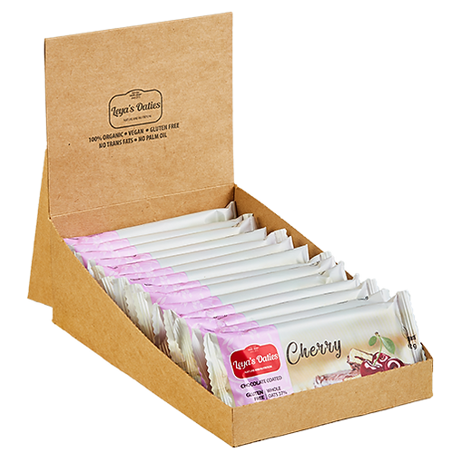 Box of 20 Leya's Oaties - CHERRY Oat Bar with Swiss Chocolate enrobing.