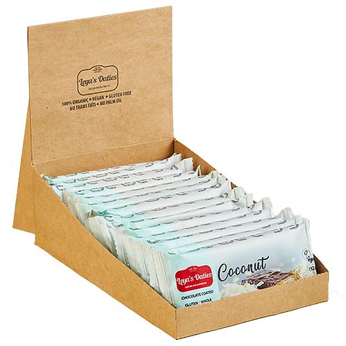 Box of 20 Leya's Oaties - COCONUT Oat Bar with Swiss Chocolate enrobing.