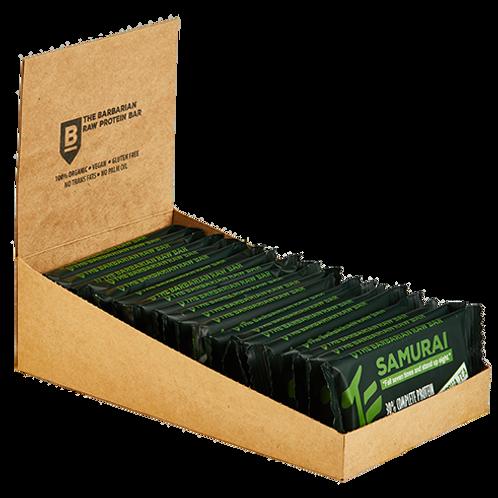 Box of 22 The BarBarian Samurai MATCHA TEA - 30% protein raw bar