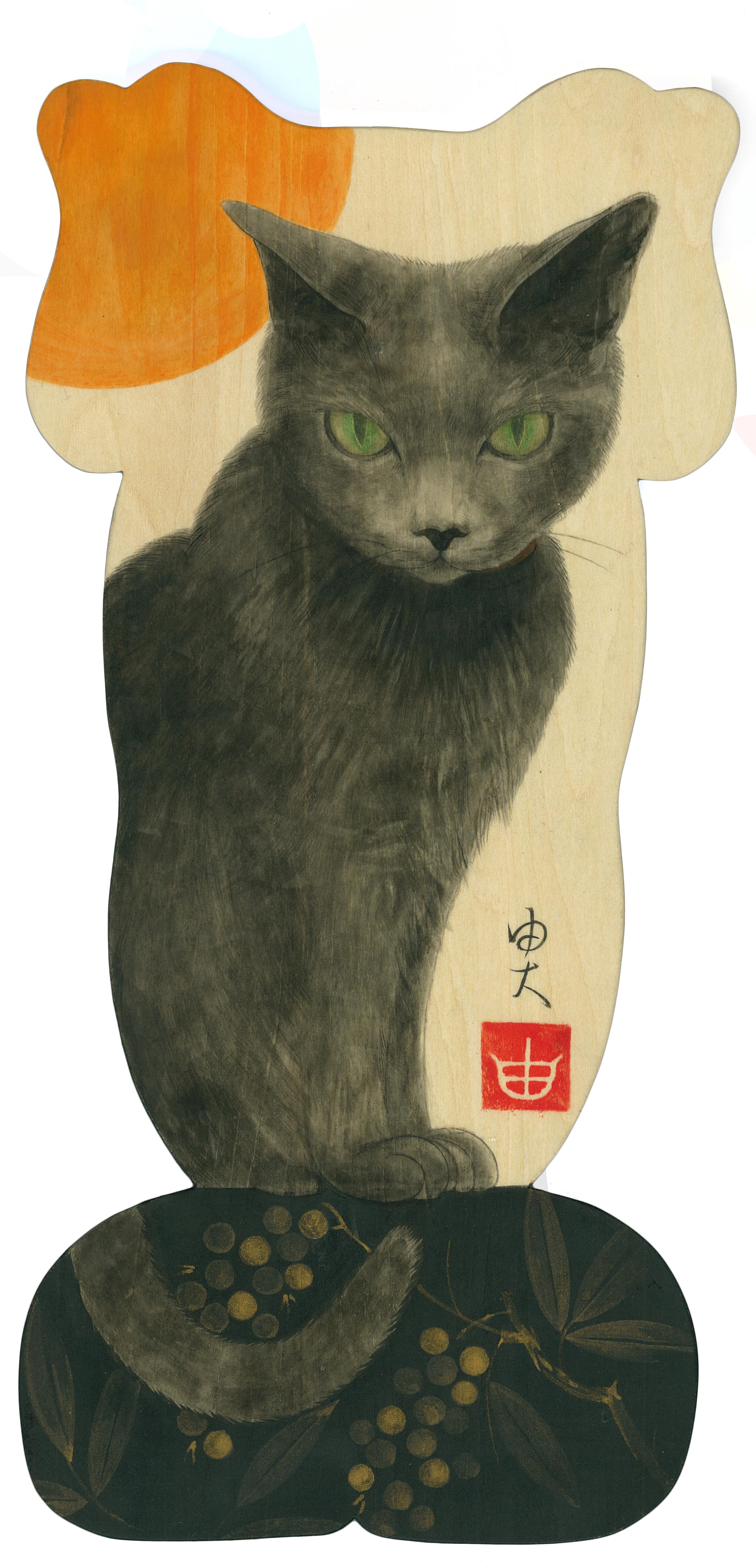 猫に南天図