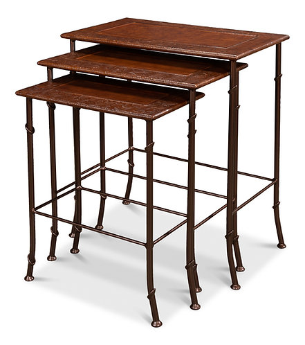 Embossed Leather Nesting Tables