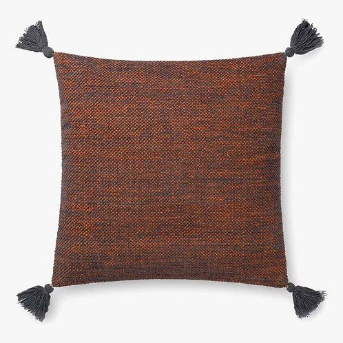 Rust and Grey Tassel Pillow