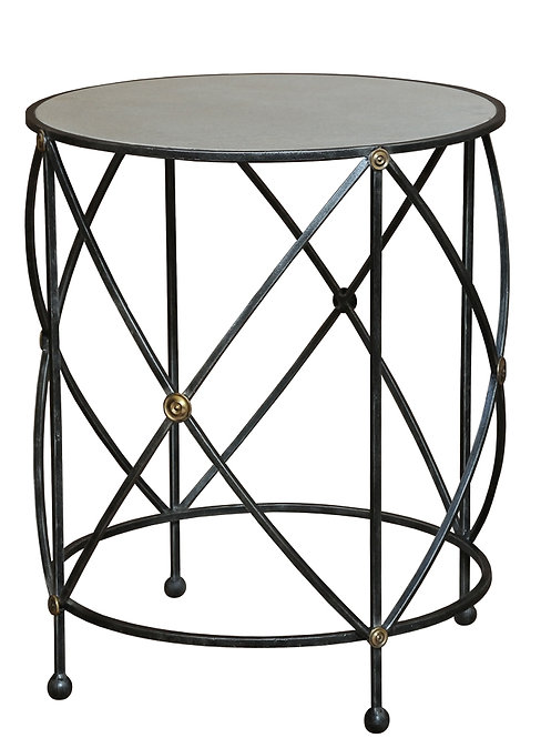 Aged White Marble and Iron Lamp Side Table