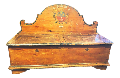 Antique French Painted Bench With Storage
