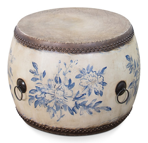 Hand Painted Blue and Antique White Drum Table