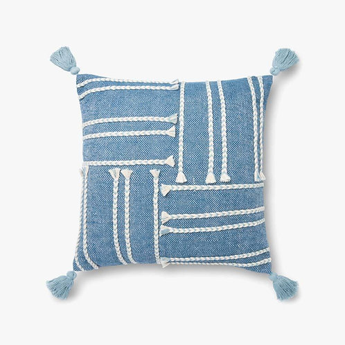 Blue and White Tassel Pillow