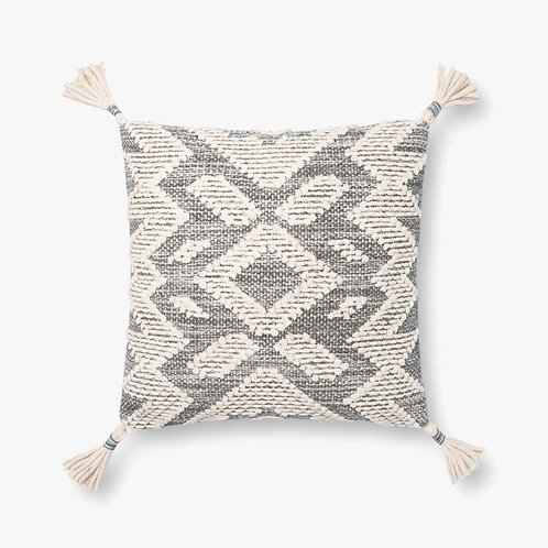 Grey and Natural Tassel Pillow