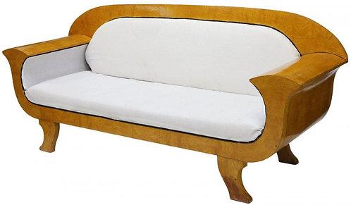 Danish Biedermeier Figured Wood Sofa