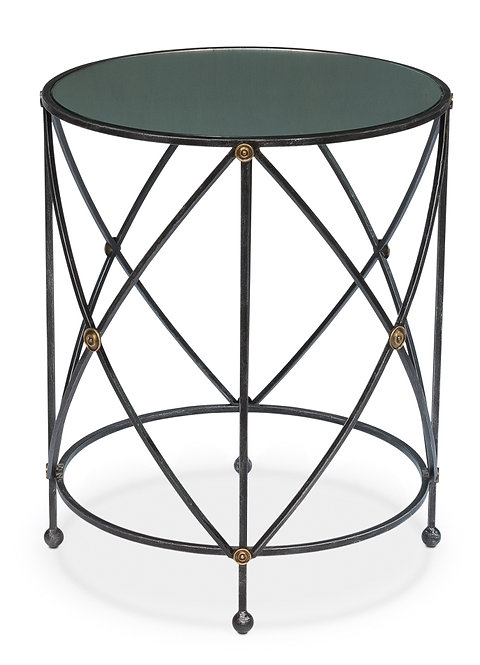 Mirror Glass Top Side Table