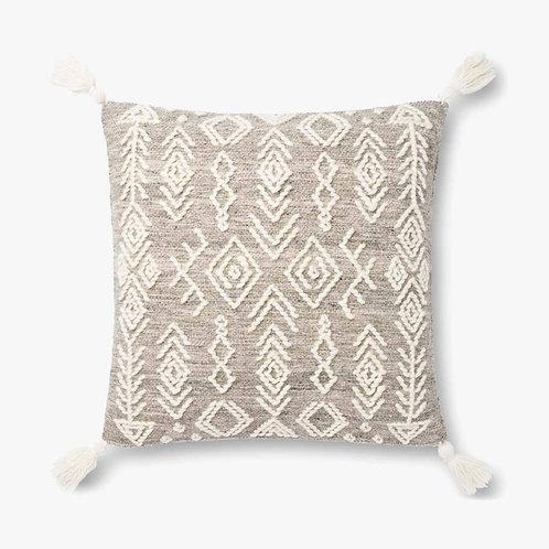 Geometric Grey and Ivory Tassel Pillow
