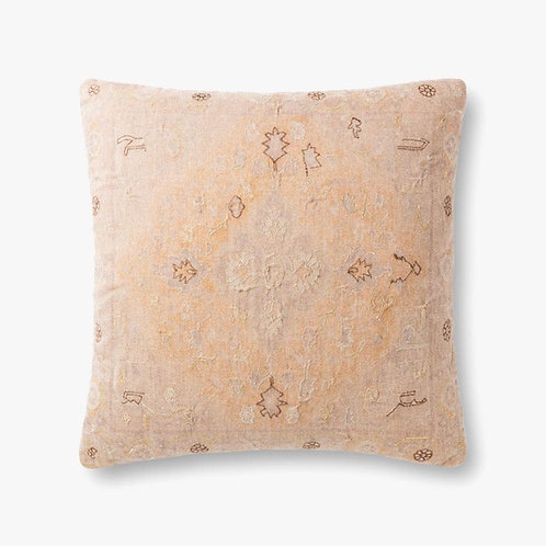 Yellow and Beige Metalic Embroidery Pillow