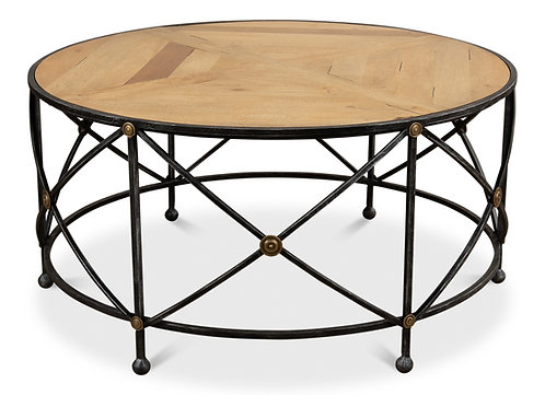 Old Iron and Walnut Parquet Round Coffee Table