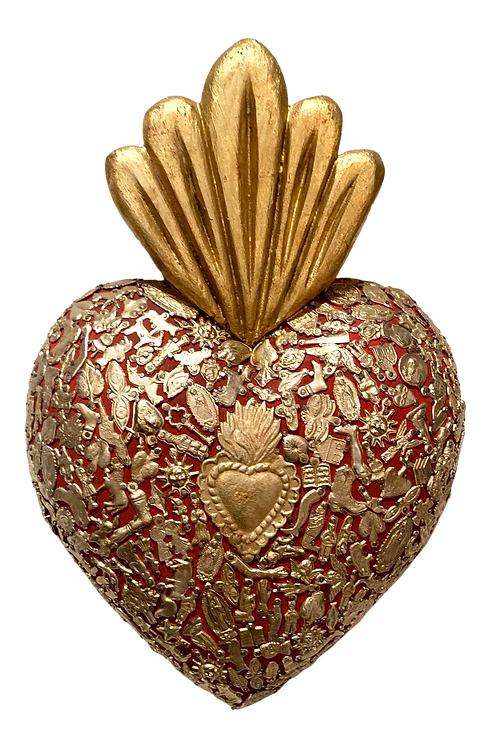 Gold and Red Flamed Wooden Sacred Heart Covered in Milagro Charms
