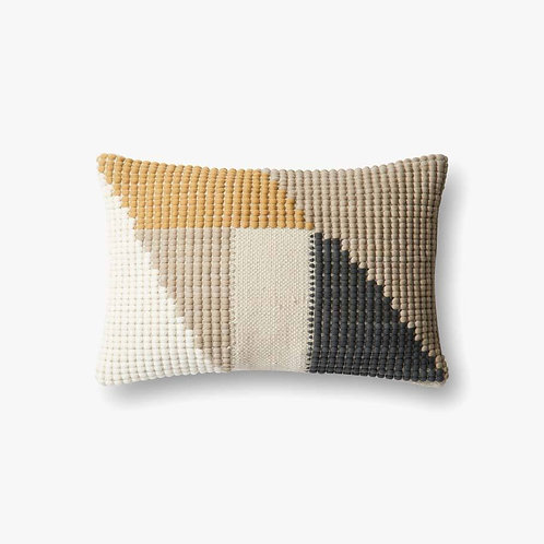 Teal Yellow and Gray Lumbar Pillow