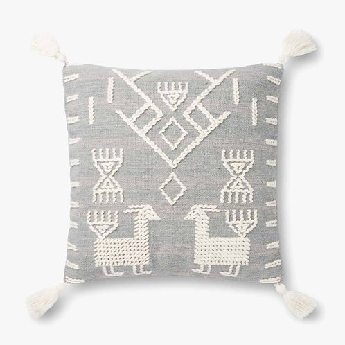 Lhama Grey and Ivory Tassel Pillow