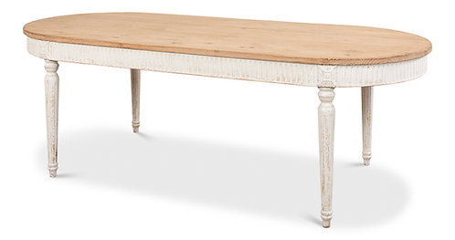 Whitewashed Natural Reclaimed Pine Long Dining Table
