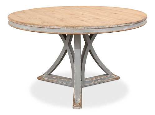 French Country Distressed Grey Pine Round Dining Table