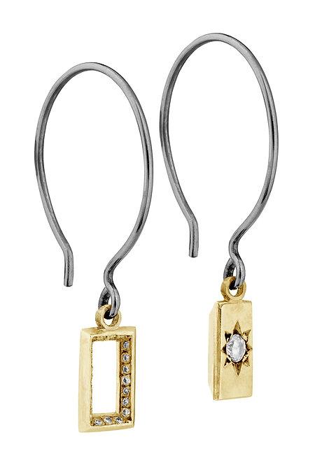 'Carat' baguette hook earrings