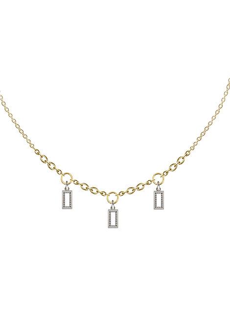 'Carat' baguette triple heavy chain necklace