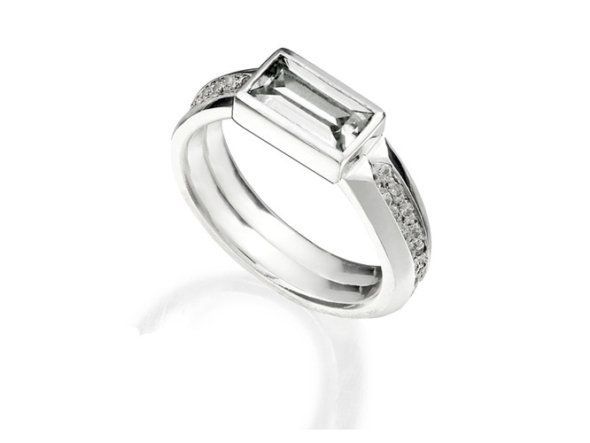 'Stellar' double baguette ring